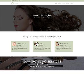 Screenshot of a salon website design for Cute Cuts Salon