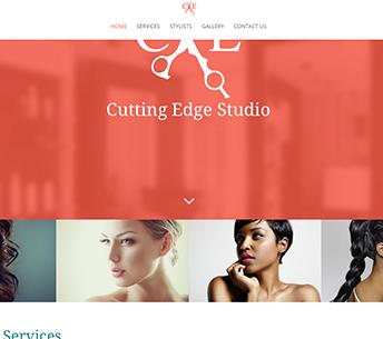 Cutting Edge Studio salon website design for home page