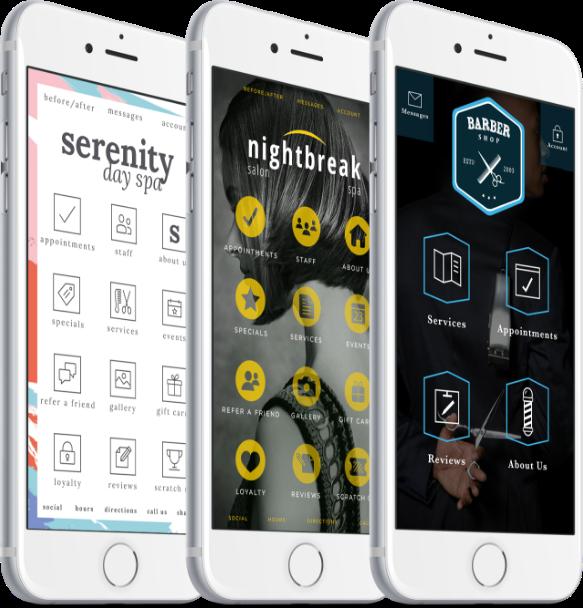Closeups of three cellphones displaying custom branded salon apps