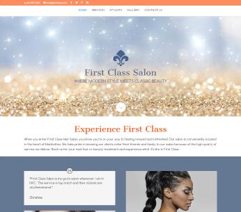 Salon website design for First Class Hair Salon