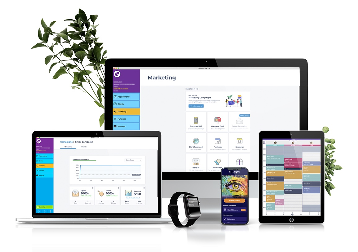 Laptop, desktop, smart watch, cellphone, and tablet all displaying the Phorest Salon Software.