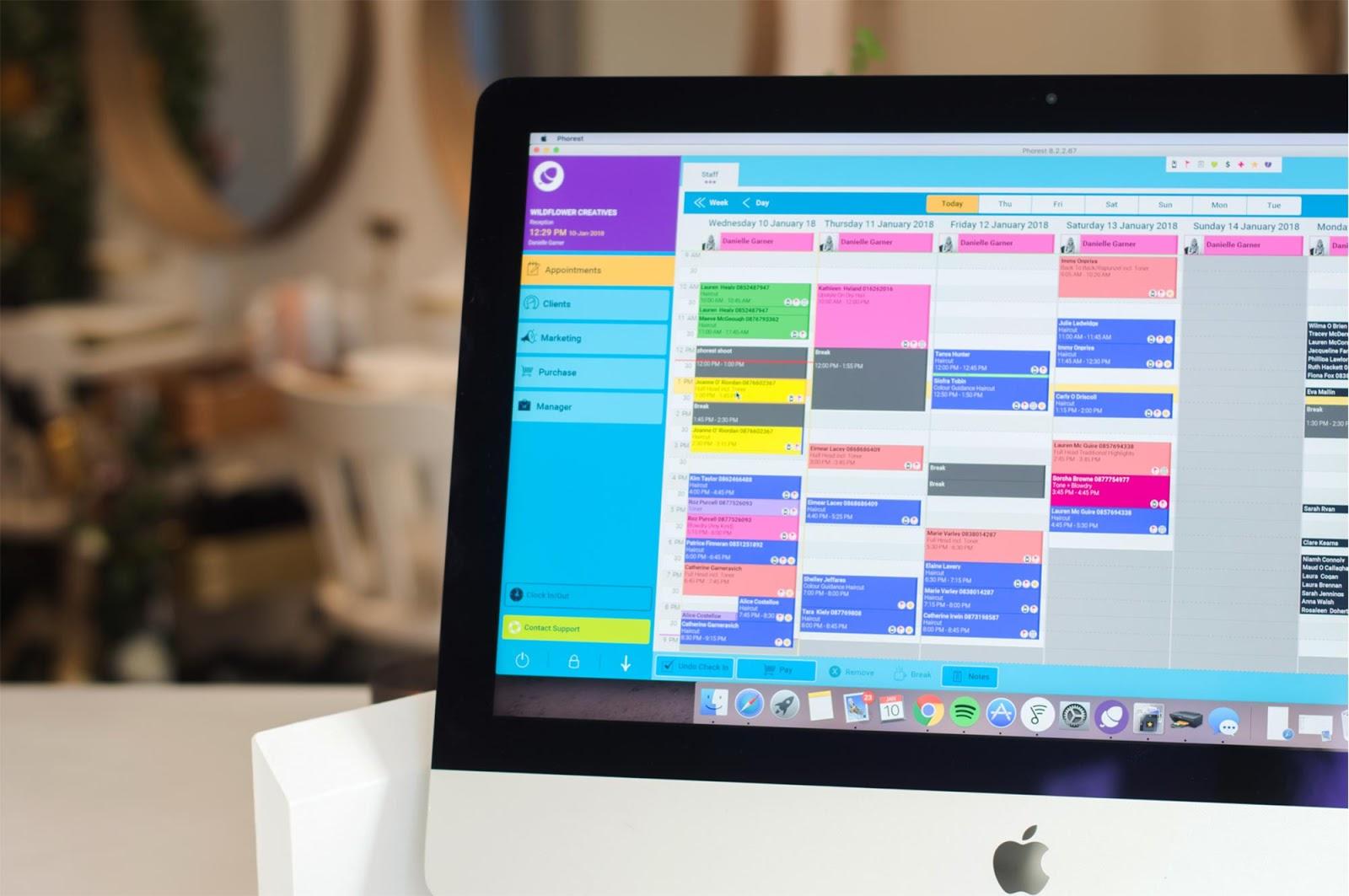 Apple desktop computer showing the Phorest Salon Software inventory management tool.