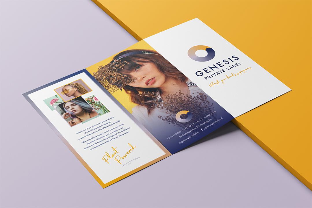 Hair salon brochure design mockup for Genesis Private Label.