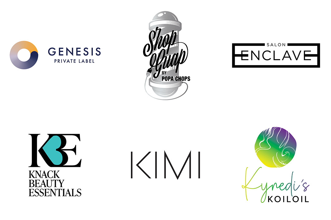 """Collection of hair salon logo designs including """"Genesis Private Label,"""" """"Salon Enclave,"""" and """"Knack Beauty Essentials."""""""