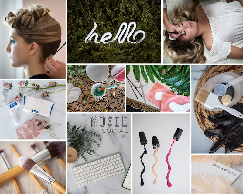 Example of the Moxie Social Clean/Modern template with a collage featuring an assortment of clean-looking salon images
