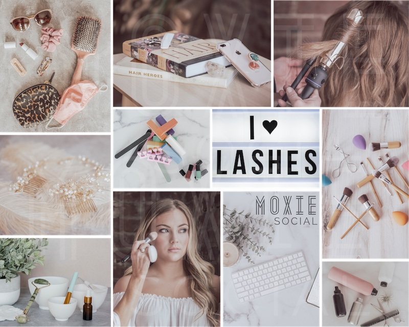 Example of the Moxie Social Light/Airy template with a collage featuring an assortment of white/light-colored salon images