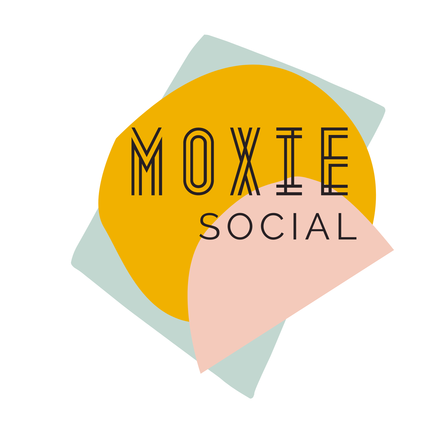 Moxie Social logo: a wordmark on cream, yellow, and teal colored blocks